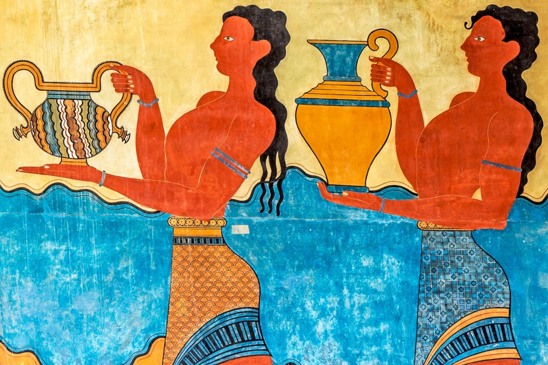 'detail of the Procession Fresco at Knossos Palace in Crete, Greece ' - Kreta